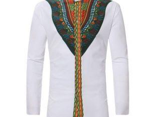 AFankara Men African Dashiki Long Shirt Ankara Style – White