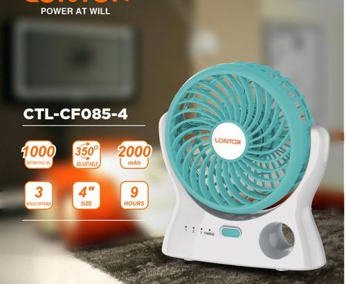 Lontor 4-Inch Rechargeable Mini Fan With Lithium Battery BLUE