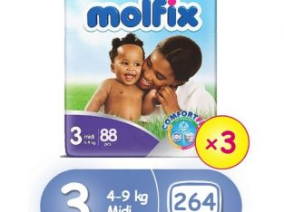 Molfix ComfortFix Diapers, Size 3 (x 3) (Total 264 Count)