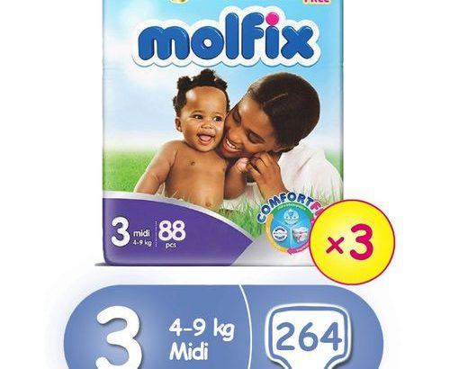 Molfix ComfortFix Diapers, Size 3 (x 3) (Total 264 Count)