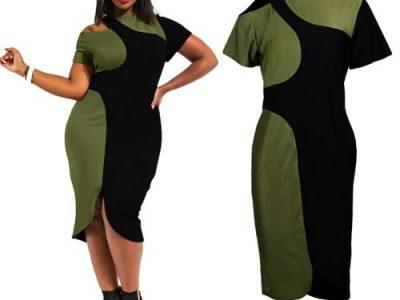 New Women Midi Dress Plus Size Cut Out Cold Shoulder Color