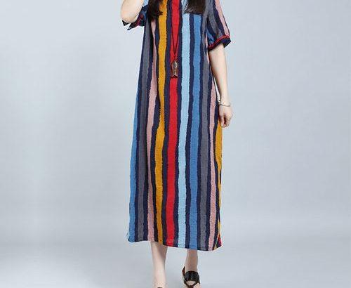 Zanzea Women Boho Loose Striped Dress Short Sleeve Pocket Maxi Robe
