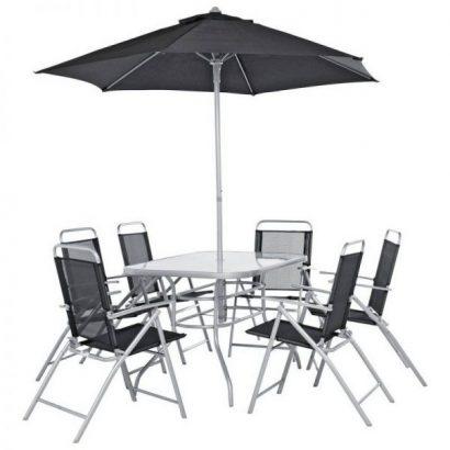 Pacific 6 Seater Metal Patio Set – Black & Silver651/1531