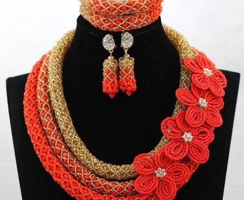 Abbi Three Layers Orange And Gold Beaded Jewelry