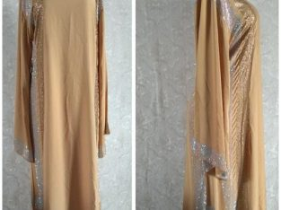 Senegalese Long Senegalese Gown With Stones – Brown