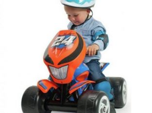 Chad Valley 6V Ride On Powered Quad Bike – Blue and Orange