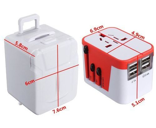 Universal Travel Adapter USB AC Power 110V 240V W/ Mop Box For AU EUROPE USA UK Red