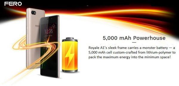 Fero Royale A1 5.0-Inch (1GB, 8GB ROM) Android 6.0 Marshmallow, 8MP + 5MP Dual SIM 3G Smartphone