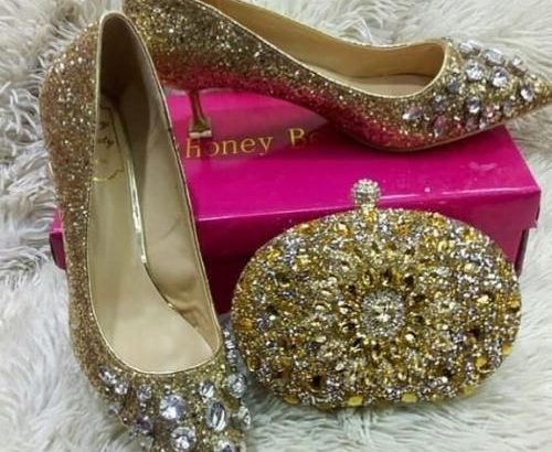 Honey Beauty Midheels Gold Shoe And Purse Gold