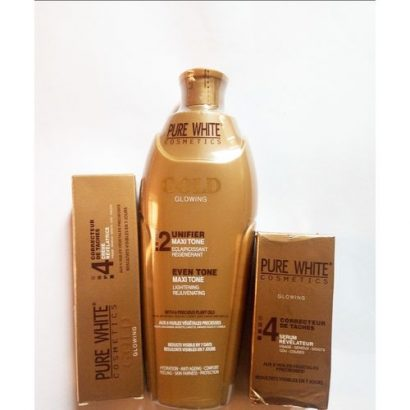 Pure White Gold Unifier+exfoliating Soap+dark Spots Corrector 3in1combo