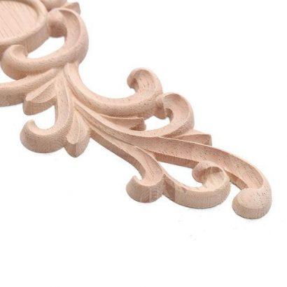 Unpainted Flower Wood Oak Carved Corner Onlay Applique Furniture Home Door Decor