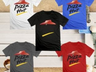 Men's Pizza Hut Logo Printed Short Sleeve T-Shirt -lekki