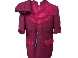 Great Men Safari Suit Patterned With Bishop Neck – Red