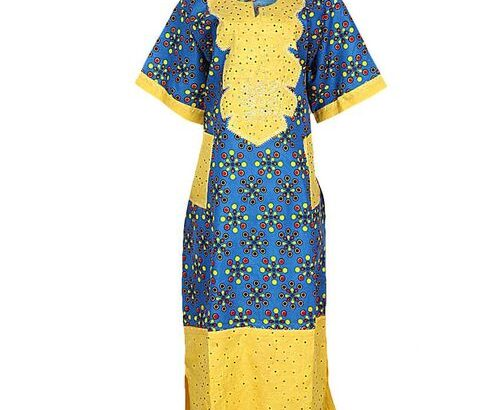 Multicolour Stoned Ankara Mix Long Gown