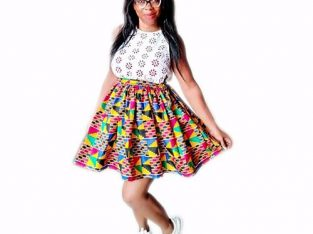 Pleated Ankara Kente Mini Skirt.