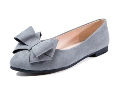 Ox OX Women Flat Shoe With Bow Tie – Grey