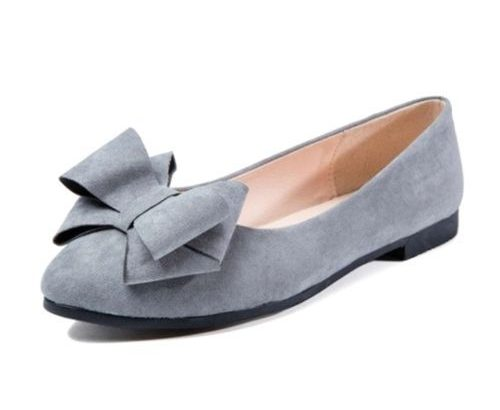 Ox OX Women Flat Shoe With Bow Tie – Grey