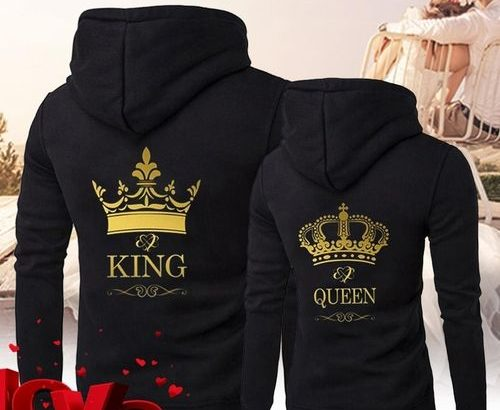 Men King Queen Crown Print Long Sleeve Couple Hoodies Valentines Day For Lovers Casual Hooded Sweats