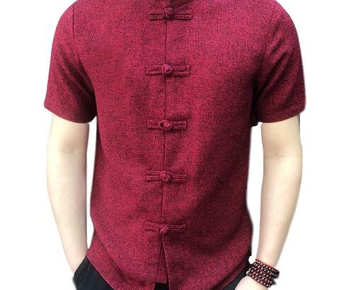 Vintage Mens Stand Collar Short Sleeve Shirt – Wine Red