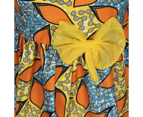 Tendecem Children Fashion Girl's Ankara Dress With Yellow Bow – Multicolour