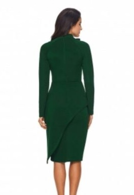 Jade Green Peplum Style Bow Dress