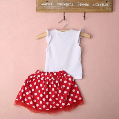 Toddler Baby Girls Kids Cartoon Dress Dot Clothes Set Red