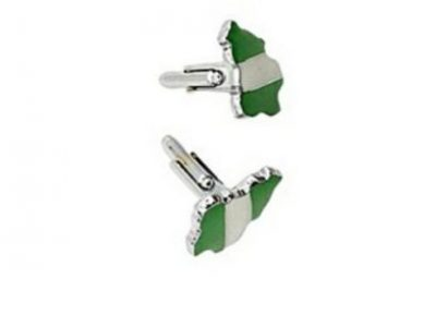 Fashion & Style Cuff Links (green White Green) In The Shape Of Nigerian Man