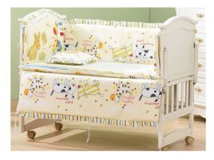5pcs Monkey Cute Baby Nursery Bedding Set Fit 120x60cm Cot Cotton Padded Bumper #Running Pony
