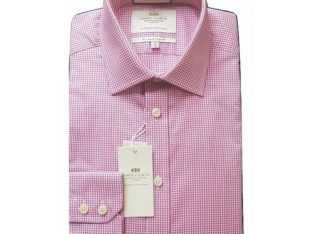 Hawes & Curtis Men's Formal Pink & White Grid Print Slim Fit Cotton Stretch Shirt – Single Cuff