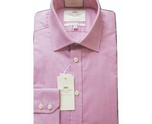 Hawes & Curtis Men's Formal Pink & White Grid Print Slim Fit Cotton Stretch Shirt – Single Cuff