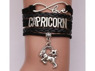Love Capricorn Leather Rope Bracelet-Black
