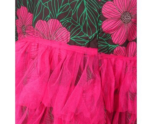Ankara With Mesh Skirt – Green/Pink