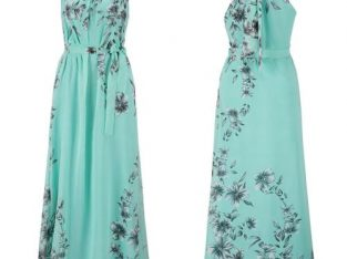 Women Cold Shoulder Floral Evening Party Maxi Dress