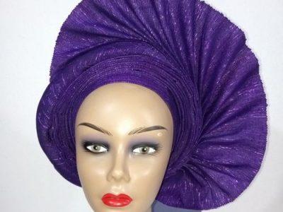 Abikeade Asooke & Gele Autogele Purple Sided Fan With Shana Wole Asooke
