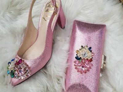 Honey Beauty Women's Heel Shoe And Purse – Pink
