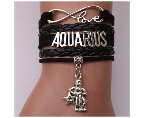 Love Capricorn Leather Rope Bracelet-Black