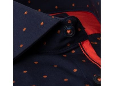 Hawes & Curtis Men's Curtis Navy & Orange Spot Slim Fit Shirt With Contrast