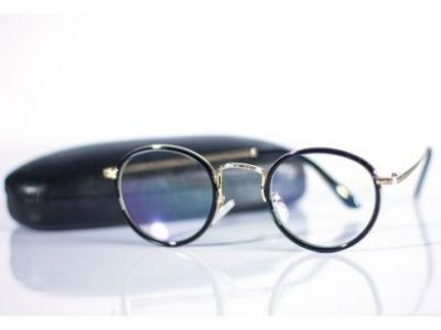 Round Frame Retro Eye Glasses Black/Gold