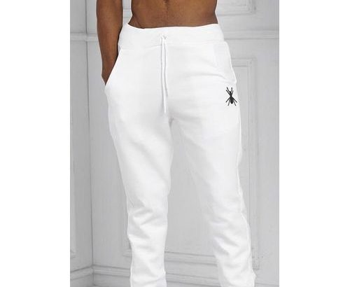 Unisex Fitted Joggers With Free Face Cap- White