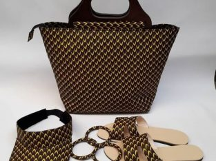 Ankara Bag Set – Ear Ring, Cap, Slippers & Bags