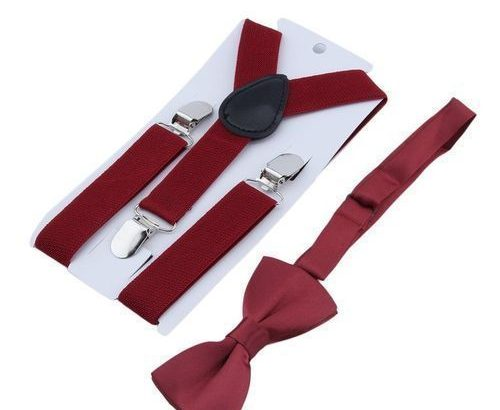 Suspenders And Bow Tie Set Matching Ties Outfits Wine Red