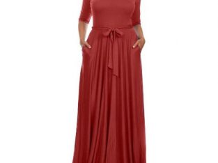Venturanna Ladies Maxi Dress With Side Pockets – Wine