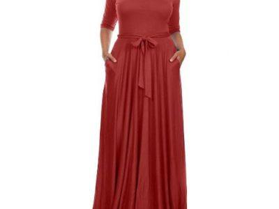 Venturanna Ladies Maxi Dress With Side Pockets – Wine