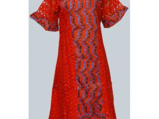 Ladies Mini Senegalese Style Designed With Red Lace And Ankara Fabric.