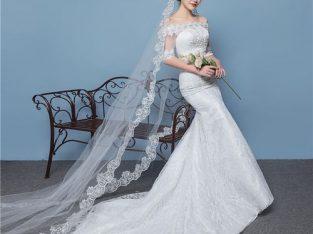 AFankara Chapel Train Wedding Dresses, Designer Off Shoulder Bride Dress