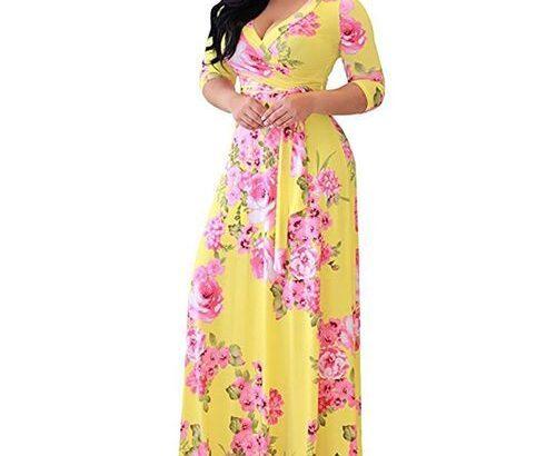 GeneAfrica Plus Size Maxi Dress Ankara Gown Style – Yellow
