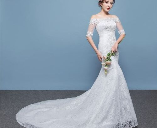 AFankara Chapel Train Wedding Dresses, Designer Off Shoulder Bride Dress