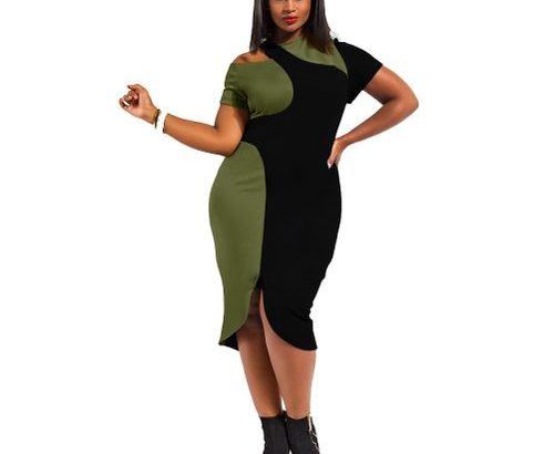 New Women Midi Dress Plus Size Cut Out Cold Shoulder Color
