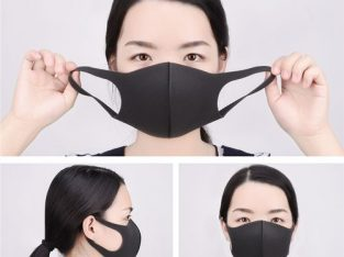 3Pcs Sponge Mouth, Nose, Face, Washable Black Unisex Mask