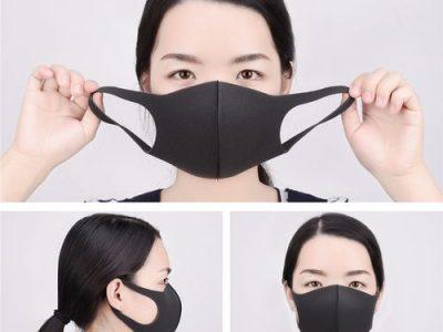 3Pcs Sponge Mouth, Nose, Face, Washable Black Unisex Mask